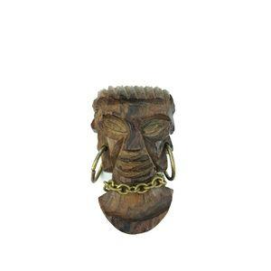 Vintage wooden carved face brooch